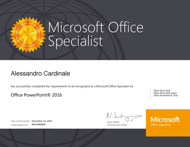 Powerpoint Specialist 2016 Certification